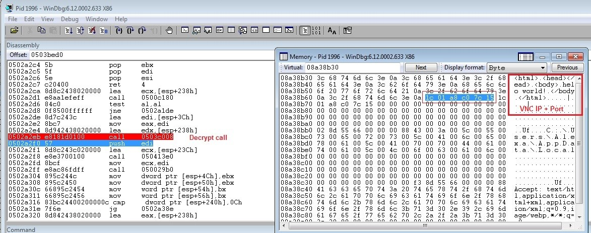"alt=""Dridex Figure 2: Decrypted script content; the IP and the PORT are appended"""