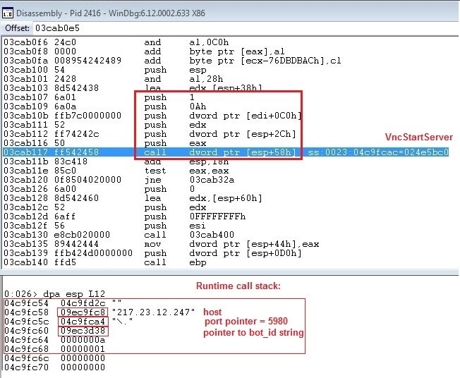Dridex Figure 7: The call to VNCStartServer with parameters