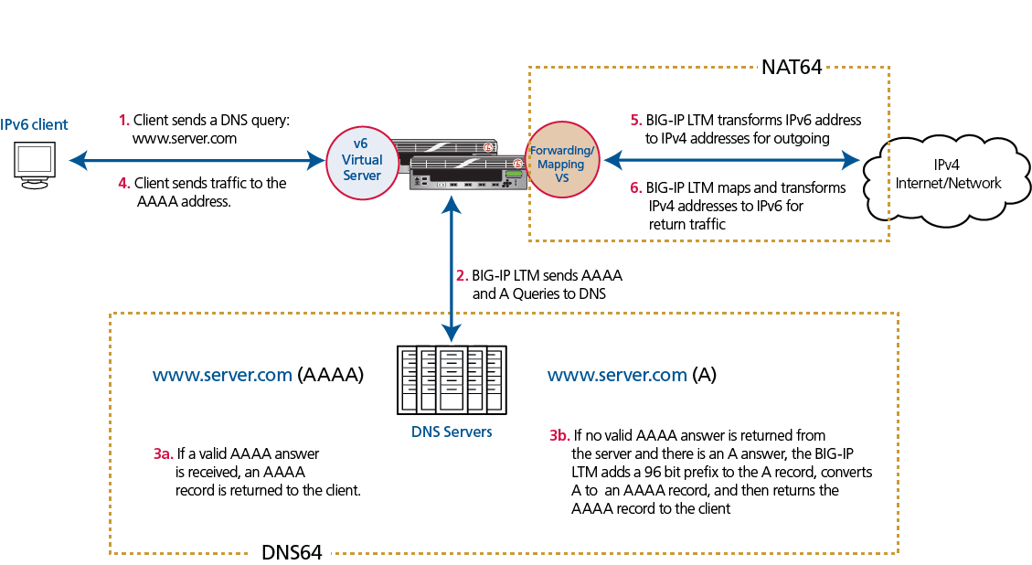 IP Address Sharing in Large Scale Networks: DNS64/NAT64 (BIG-IP v10